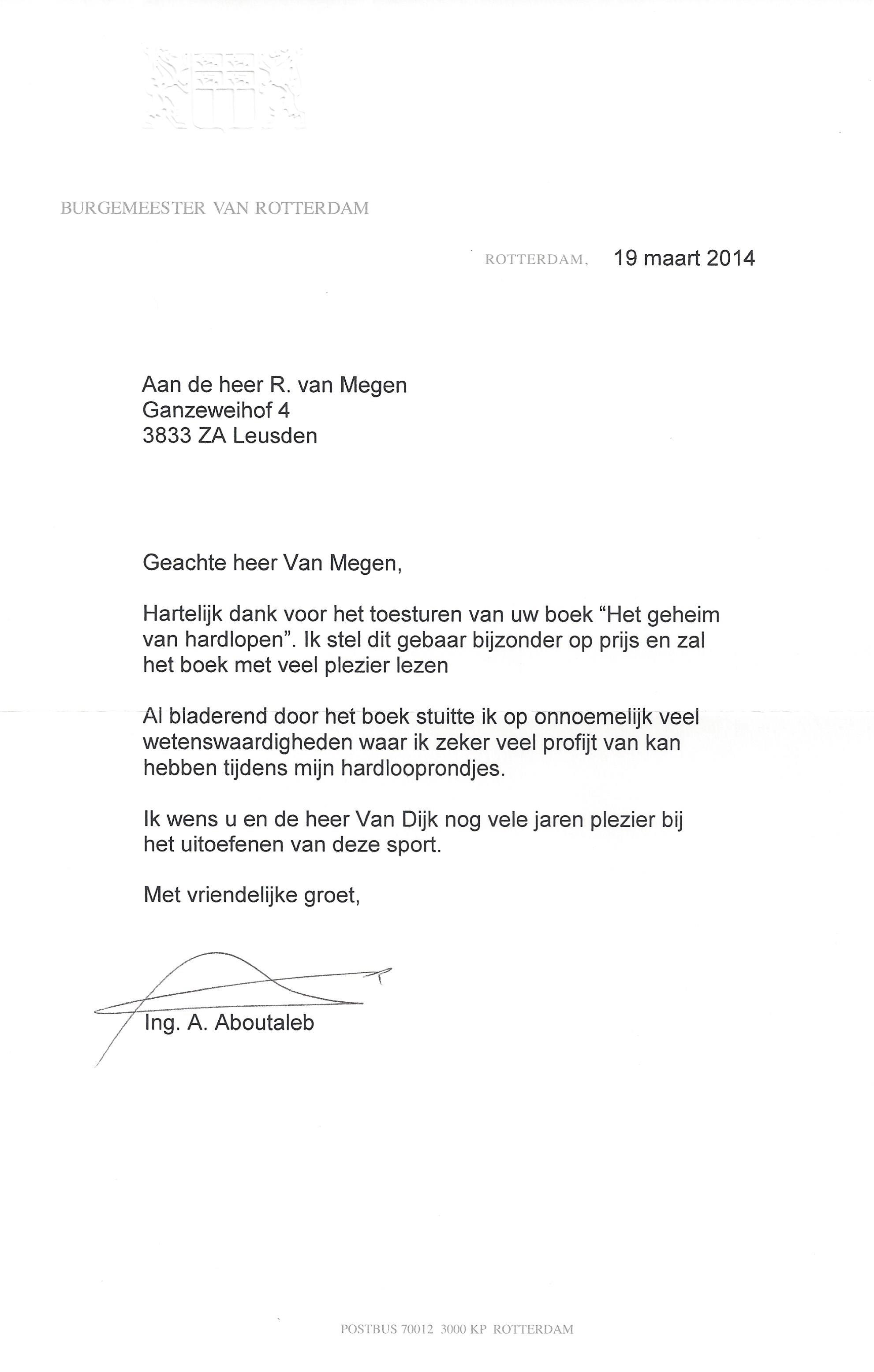 20140319 brief burgemeester van Rotterdam de heer ing A Aboutaleb